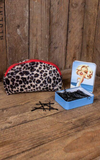 Red Hot and Blue Set Kosmetiktasche + Metallbox Bobby Pins von Rockabilly Rules