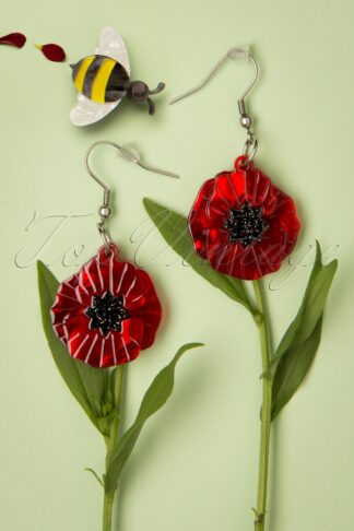 TopVintage Exclusive ~ 60s Poppy Field Drop Earrings in Red