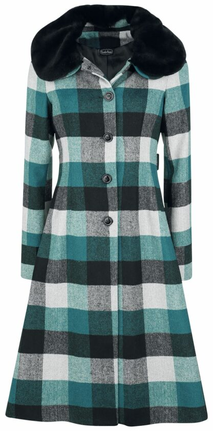 Voodoo Vixen Beatrice Woolly Check Coat Wollmantel multicolor