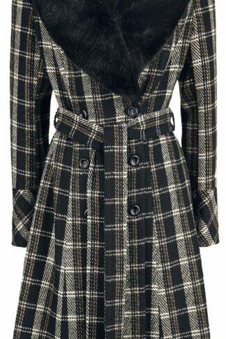 Voodoo Vixen Kara Sea Double Breasted Plaid Dress Coat Mantel schwarz