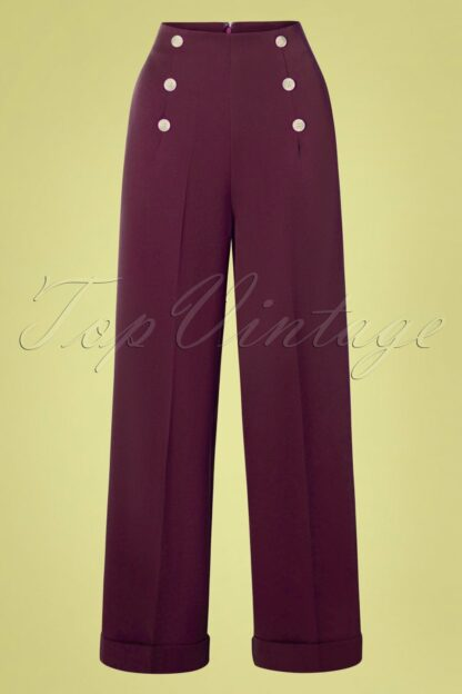 40s Day To Night Button Trousers in Burgundy