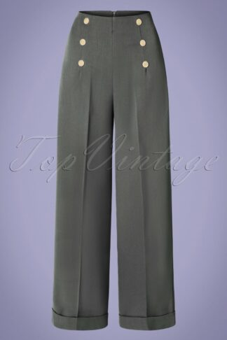 40s Day To Night Button Trousers in Grey