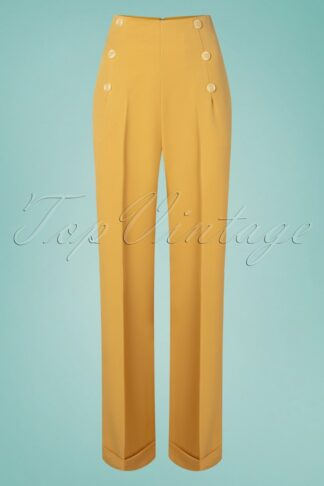 40s Day To Night Button Trousers in Mustard