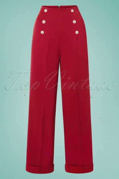 40s Day To Night Button Trousers in Red