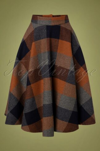40s Sophie Wool Check Skirt in Rust