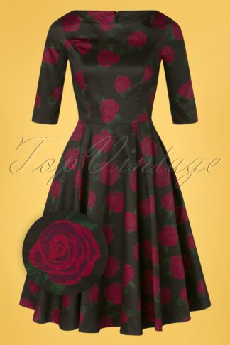 50s Adriana Roses Long Sleeve Swing Dress in Black and Magenta