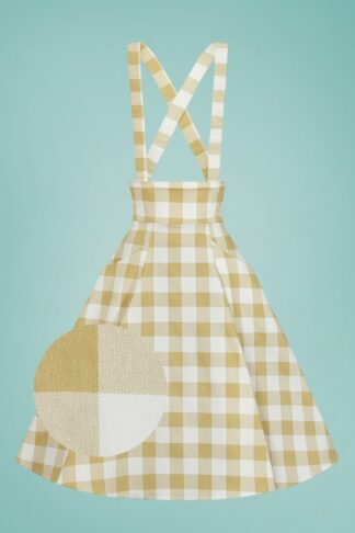50s Alexa Gingham Swing Skirt in Cream and Mustard
