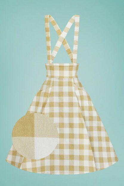 50s Alexa Gingham Swing Skirt in Cream and Mustard