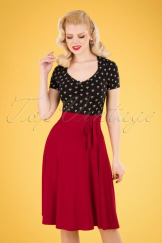 50s Aliyah Swing Skirt in Deep Red