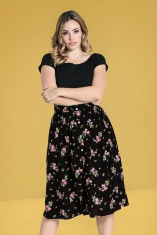 50s Bobby Sue Floral Swing Skirt in Black