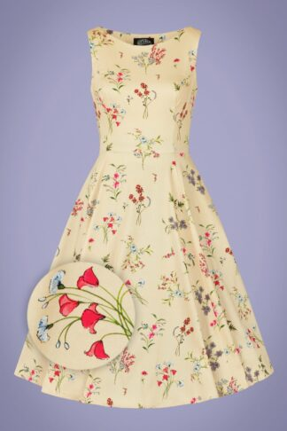 50s Bridget Floral Swing Dress in Cream