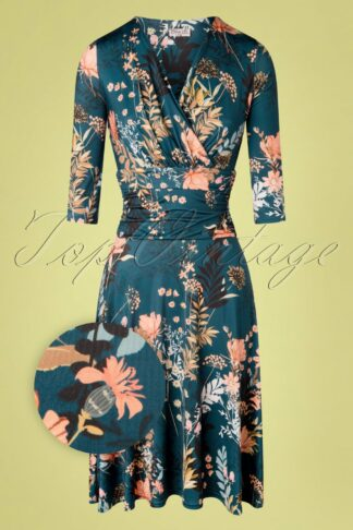 50s Candace Floral Swing Dress in Petrol Blue