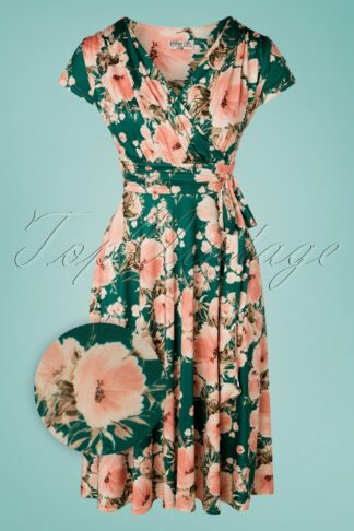 50s Caryl Floral Swing Dress in Green