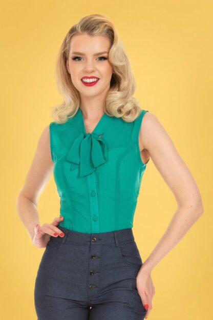 50s Celestine Blouse in Teal Blue