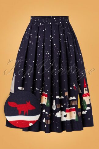 50s Christmas Town Pleated Swing Skirt in Navy