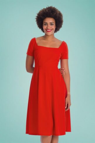 50s Classy and Sassy Fit and Flare Swing Dress in Red