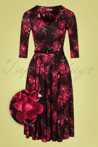 50s Cora Floral Swing Dress in Black