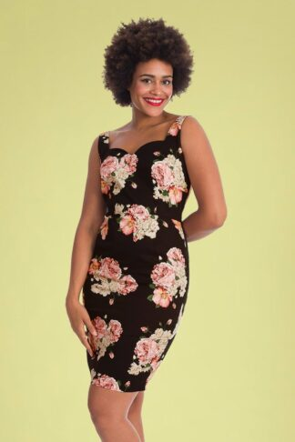 50s English Rose Pencil Dress in Black