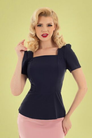 50s Gabriela Top in Navy