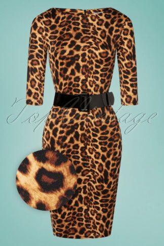 50s Kitty Pencil Dress in Leopard