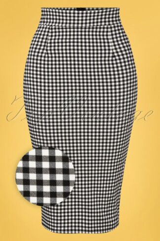 50s Luana Gingham Pencil Skirt in Black and White