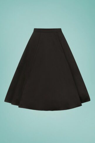 50s Matilde Classic Cotton Swing Skirt in Black