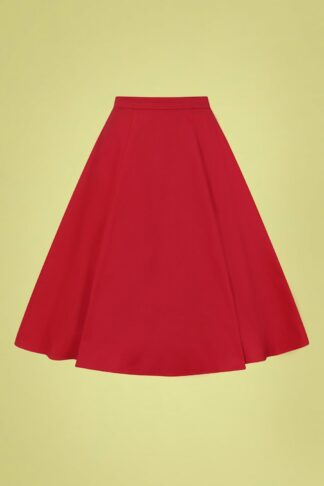 50s Matilde Classic Cotton Swing Skirt in Red