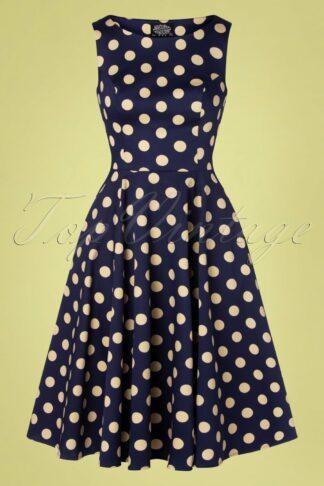 50s Mia Polkadot Swing Dress in Navy and Cream