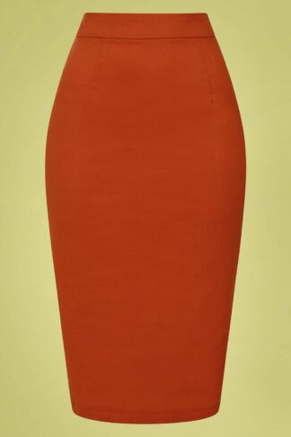 50s Polly Textured Cotton Pencil Skirt in Orange