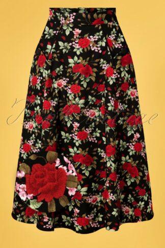 50s Rose Garden Swing Skirt in Black