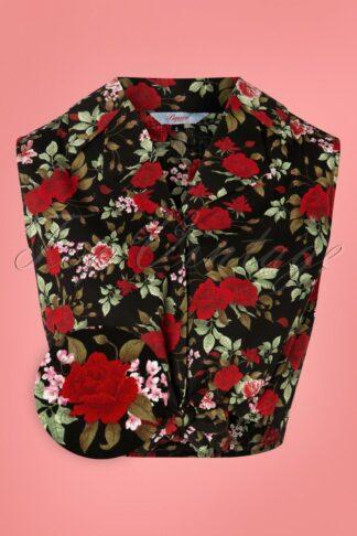 50s Rose Garden Tie Top in Black