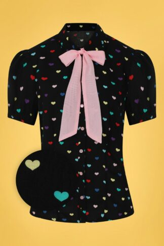 50s True Love Hearts Blouse in Black