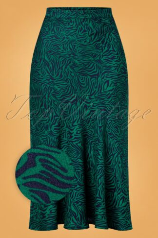 60s Alexandra Wild Nights Midi Skirt in Green