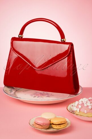 60s Lillian Lacquer Flap Bag in Poppy Red