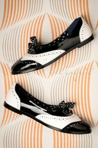 60s Milana Brogues in Black and White
