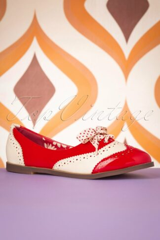 60s Milana Brogues in Red and Cream