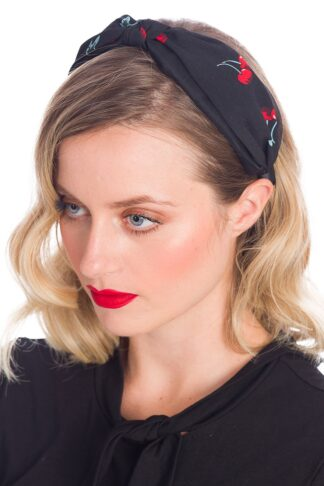 Banned Haarreif / Haarband Melissa Cherry Kirsche, schwarz von Rockabilly Rules