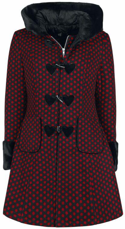 Hell Bunny Amelia Coat Mantel rot/schwarz