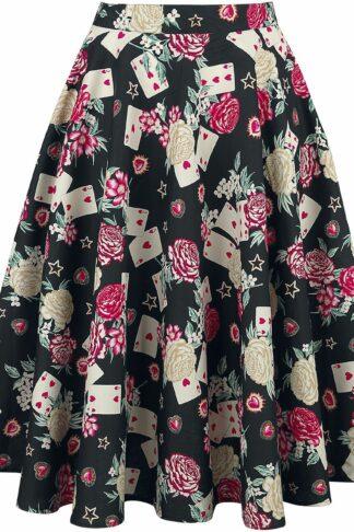 Hell Bunny Queen Of Hearts 50's Skirt Mittellanger Rock multicolor