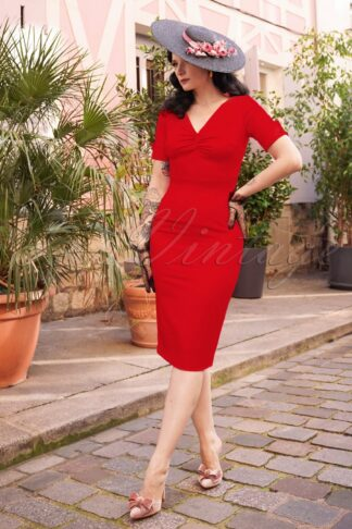 The Izabella Pencil Dress in Lipstick Red
