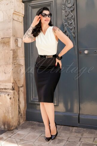 The Nadine Pencil Dress in Black and Ivory