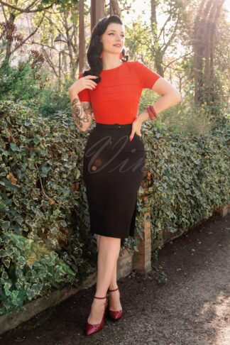The Riva Pencil Dress in Black and Fiery Red