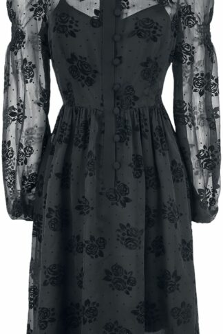 Voodoo Vixen Blanca Chiffon Rose Flocking Dress Mittellanges Kleid schwarz