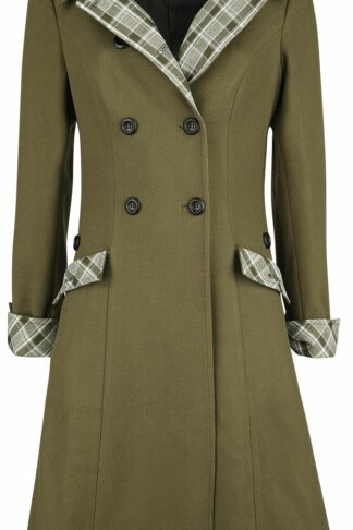 Voodoo Vixen - Susie Coat With Button Up Plaid Constrast - Mantel - oliv