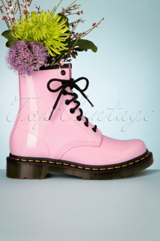 1460 Lamper Patent Ankle Boots in Pale Pink