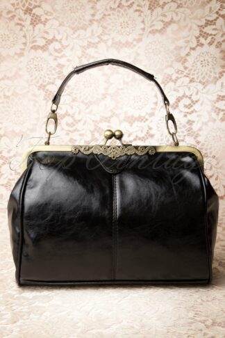 20s Vintage Frame Kisslock Clasp Bag in Black