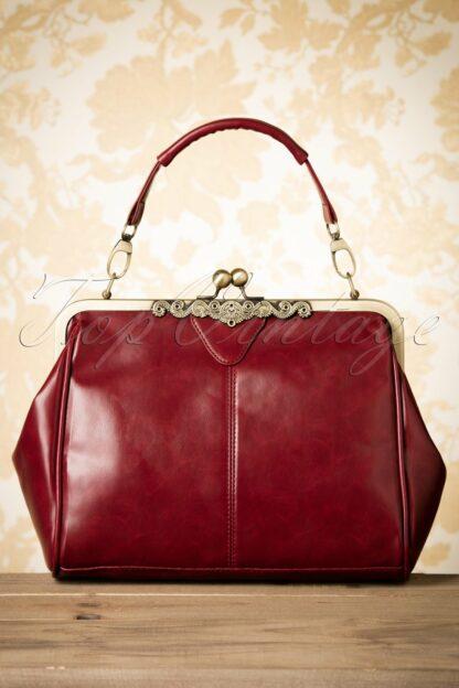 20s Vintage Frame Kisslock Clasp Bag in Burgundy