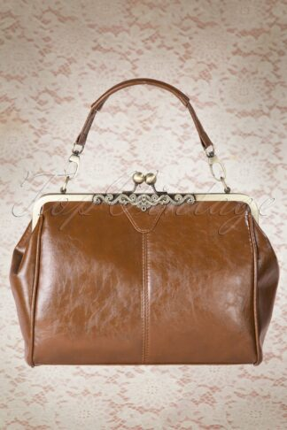 20s Vintage Frame Kisslock Clasp Bag in Tan