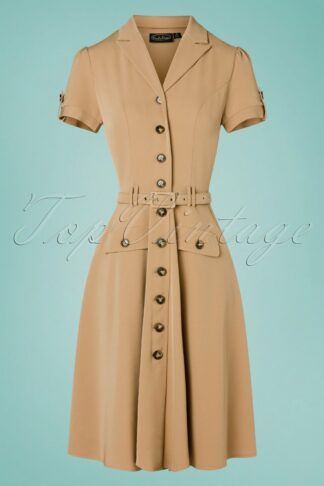 40s Ida Safari Button Down Flare Dress in Sand