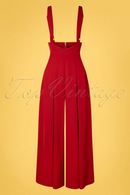 40s Marybeth Suspender Trousers in Red